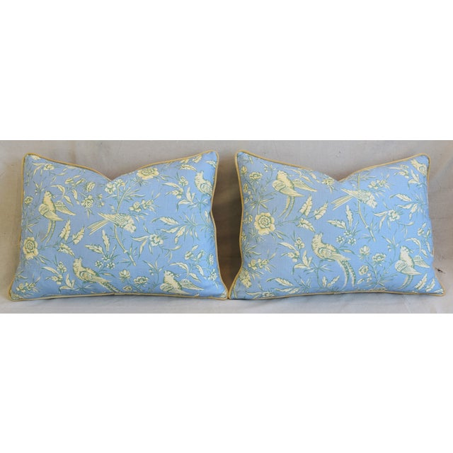 """Scalamandre Aviary Linen & Velvet Feather/Down Pillows 25"""" X 18"""" - Pair For Sale In Los Angeles - Image 6 of 13"""