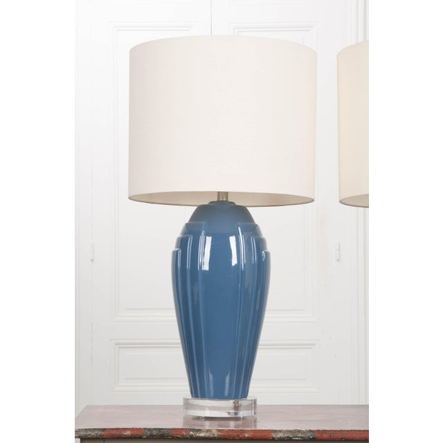 Pair Of Vintage Art Deco Style Lamps With Shades Chairish