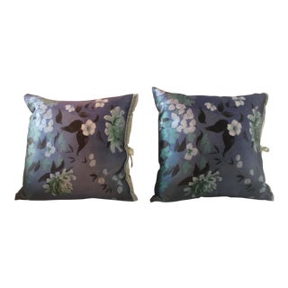 Michele Varian Blue Silk Pillows - A Pair For Sale