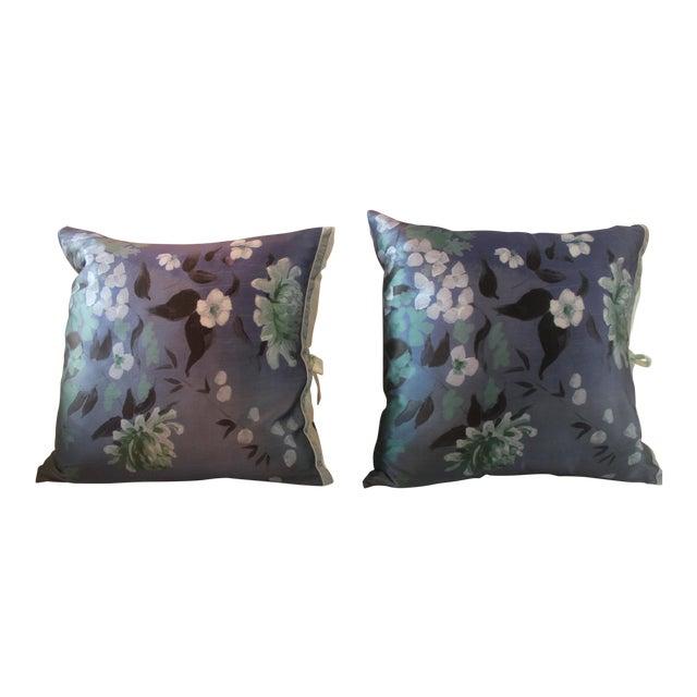 Michele Varian Blue Silk Pillows - A Pair For Sale