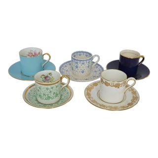 English Bone China Demitasse Cups and Saucers - Set for 5