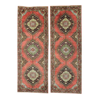 Pair of Vintage Turkish Oushak Runners with Mid-Century Modern Style For Sale