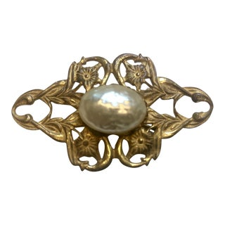 Miriam Haskell Art Nouveau Style Floral Brooch or Pin For Sale