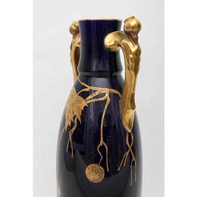 Porcelain Vase by Gustave Asch in Cobalt Blue and Gold, circa 1900 - Image 3 of 10