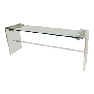 Karl Springer Style Mid-Century Lucite Console For Sale