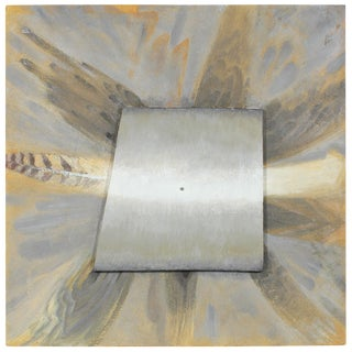 Metallic Orange Gray and Silver Sculptural Mixed Media Painting on Wood, 2002 For Sale