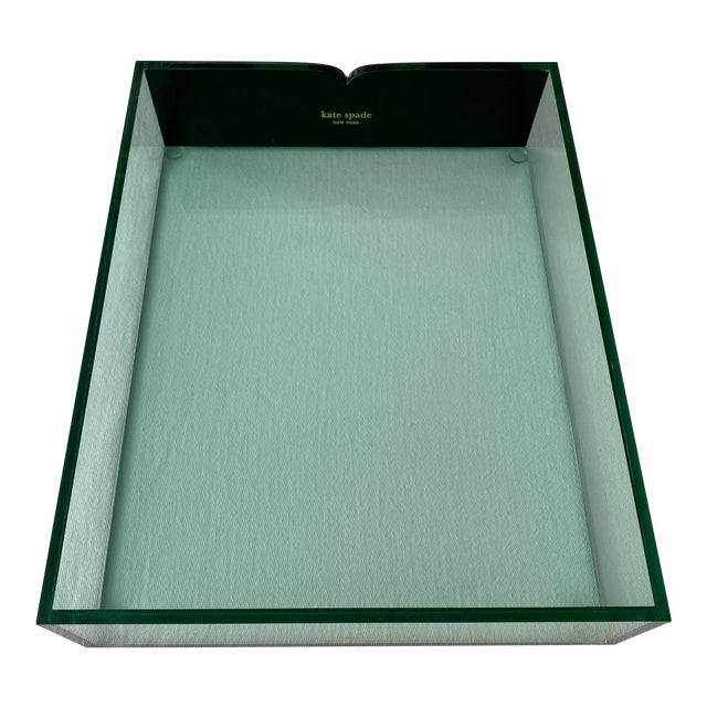 Kate Spade Green Lucite Desk Tray For Sale