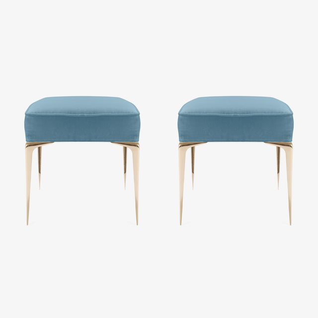 Montage Colette Brass Ottomans in Denim Blue Velvet by Montage, Pair For Sale - Image 4 of 7