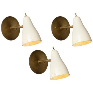 1950s Perforated Italian Sconces in the Manner of Giuseppe Ostuni - Set of 3 For Sale