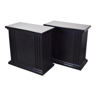 Hollywood Regency Rectangular Neoclassical Fluted Black Pedestals - a Pair