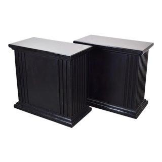 Rectangular Neoclassical Fluted Black Pedestals - A Pair