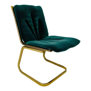 Vintage Mid Century Green and Brass Accent Chair For Sale