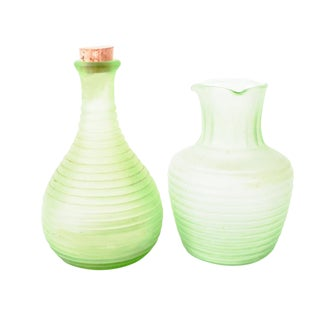 1900s Boho Chic Frigidaire Anchor Hocking Frosted Green Depression Glass Ribbed Carafes - a Pair For Sale
