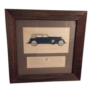 Vintage Framed 1953 Cadillac Phaeton Car Print For Sale