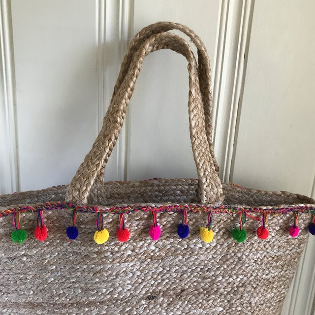 Boho Chic Boho Jute Large Basket Tote For Sale - Image 3 of 12
