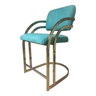 Vintage Art Deco Cantilever Teal Suede Brass Counter Height Bar Stool For Sale