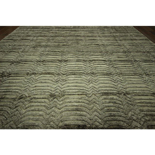 "Wool & Silk Pile Gray Moroccan Rug - 7'4"" x 8'2"" - Image 6 of 10"