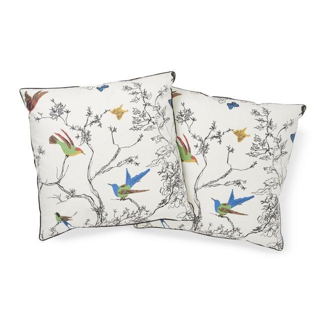 Schumacher Schumacher Birds & Butterflies Pillow in Multi For Sale - Image 4 of 7