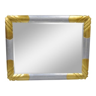Vintage Turner Gold & Silver Leaf Hollywood Regency Art Deco Style Wall Mirror For Sale
