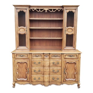 1960s John Widdicomb Fruitwood French Country Provincial 2 Part China Cabinet Cupboard For Sale