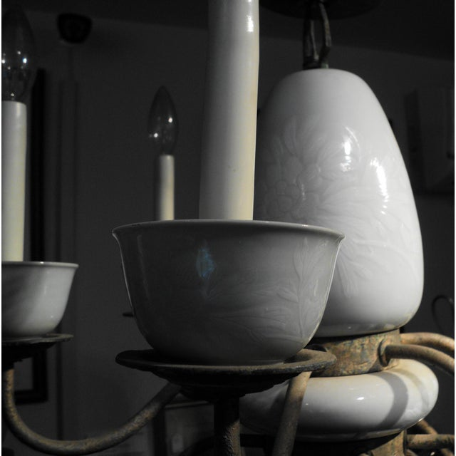 Antique Metal & Ceramic Chandelier - Image 8 of 11