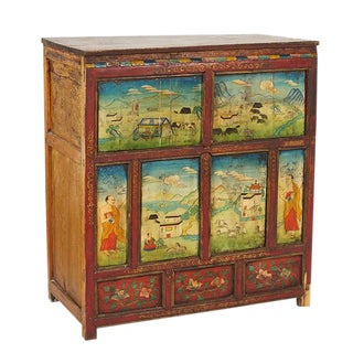 1900s Asian Antique Painted Thai Wood Chest For Sale
