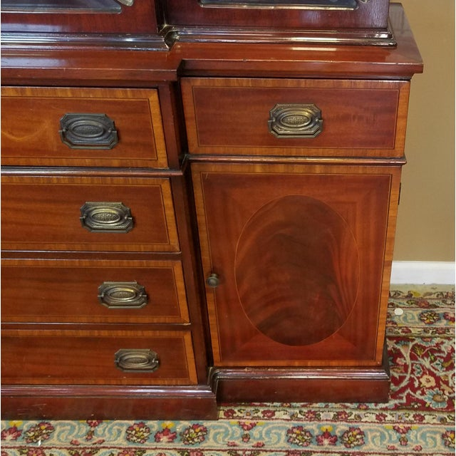 Brown Very Good 1940s Inlaid & Banded Mahogany Living Room Breakfront China Cabinet For Sale - Image 8 of 11
