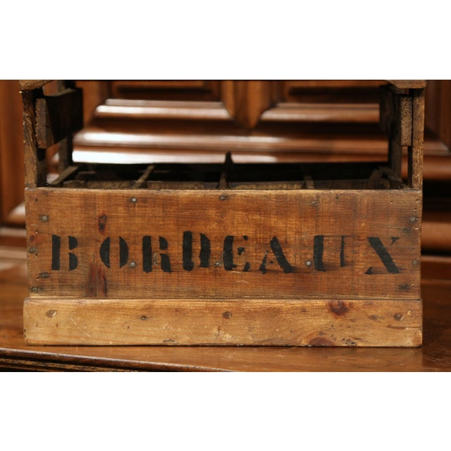 Early 20th Century Old French Pine 12 Wine Bottle Storage Cabinet with Bordeaux Inscription For Sale - Image 5 of 8