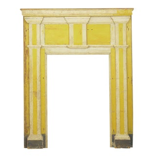 Neoclassical Federal Antique Fireplace Surround Mantel in Early Yellow & White Paint For Sale