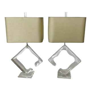 1970s Signed Van Teal Lucite Table Lamps - a Pair For Sale