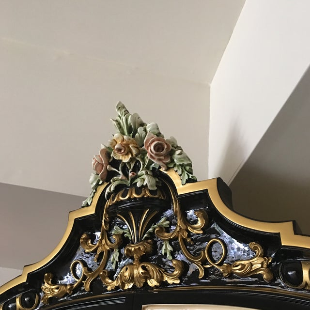 Italian Lacquer Glass Showcase Cabinet With Flower - Image 11 of 11