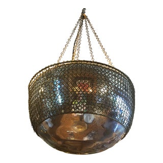 Arterior, Laura Kira Collection Hanging Chainmail Domed Round Mirror Pendant Lamp For Sale