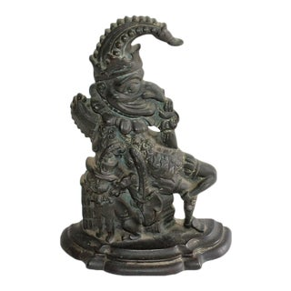 "Late 19th Century Bronze ""Punch"" Door Stop For Sale"