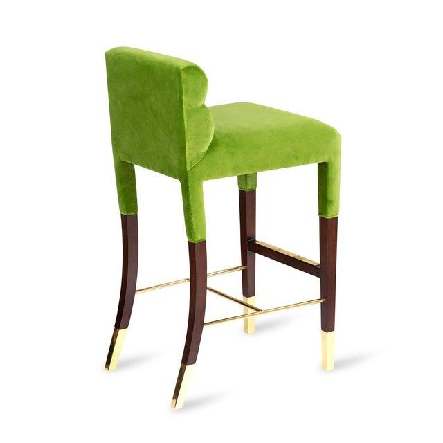 Mid-Century Modern Gardner Bar Stool in Green Velvet For Sale - Image 3 of 5