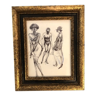Original Miniature Life Study Ink Sketch 3 Figures For Sale