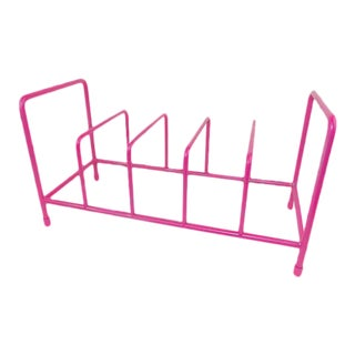 Pink Vintage Metal File or Vinyl Record Rack For Sale