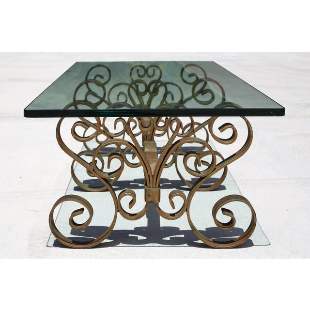 Vintage Iron Scroll Cocktail Table With Thick Glass Top For Sale In Tampa - Image 6 of 9