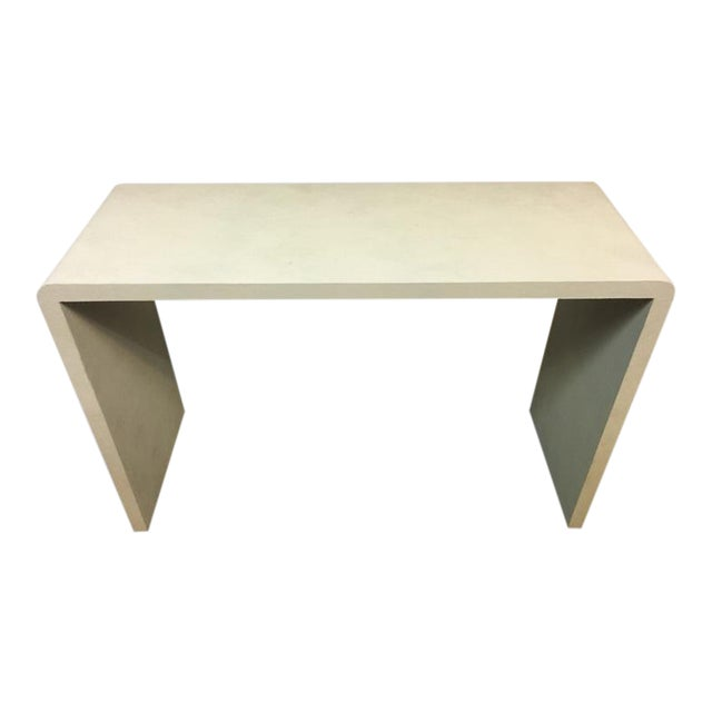 Art Deco Style Faux Shagreen White Console Table For Sale