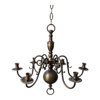 Antique Brass Candle Holder Chandelier For Sale