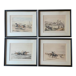 French Equestrian Lithographie Prints - Set of 4 For Sale