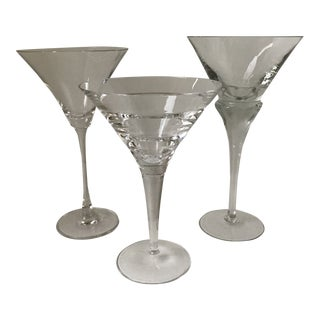 3 Crystal Mixed Mid Century Crystal Martini Glasses For Sale