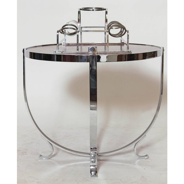 Silver Machine Age Art Deco Streamline Cruise Liner or Pullman Car Cocktail Table For Sale - Image 8 of 11