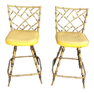 1900s Hollywood Regency Gold Faux Bamboo Metal Bar Stools - a Pair