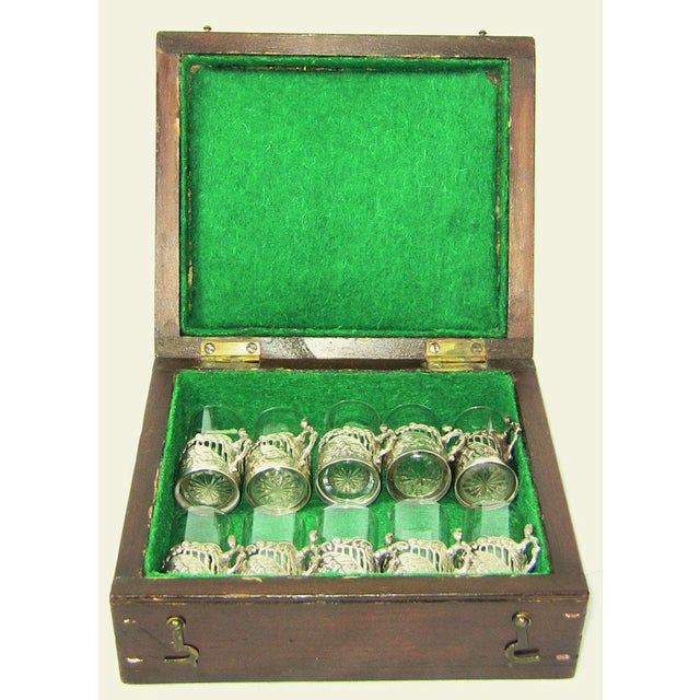 Silver 19c Set of 10 Sterling Silver Shot Glasses by W Comyn & Sons – Rare For Sale - Image 8 of 8