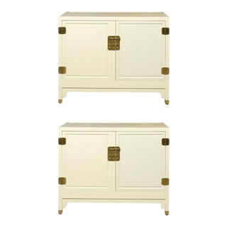 Elegant Pair of Vintage Baker Cabinets Restored in Cream Lacquer For Sale