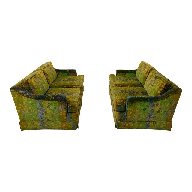 Mid Century Modern Loveseats Upholstered in Jack Lenor Larsen Fabric -A Pair For Sale