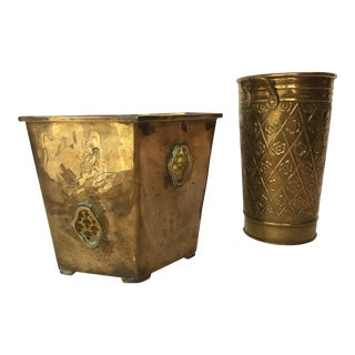 1980s Vintage Brass Planters - A Pair For Sale