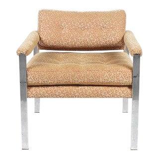 1970s Mid-Century Modern Milo Baughman Style Chrome Cube Chair For Sale