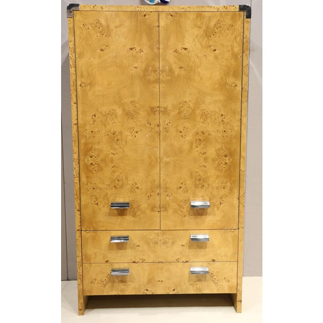 1980s 1980s Burl Wood Armoire by Leon Rosen for Pace Collection For Sale - Image 5 of 5