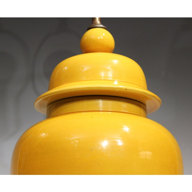 Yellow Vintage Large Japanese Crackle Glaze Yellow Zen Temple Jar Pottery Table Lamp For Sale - Image 8 of 13